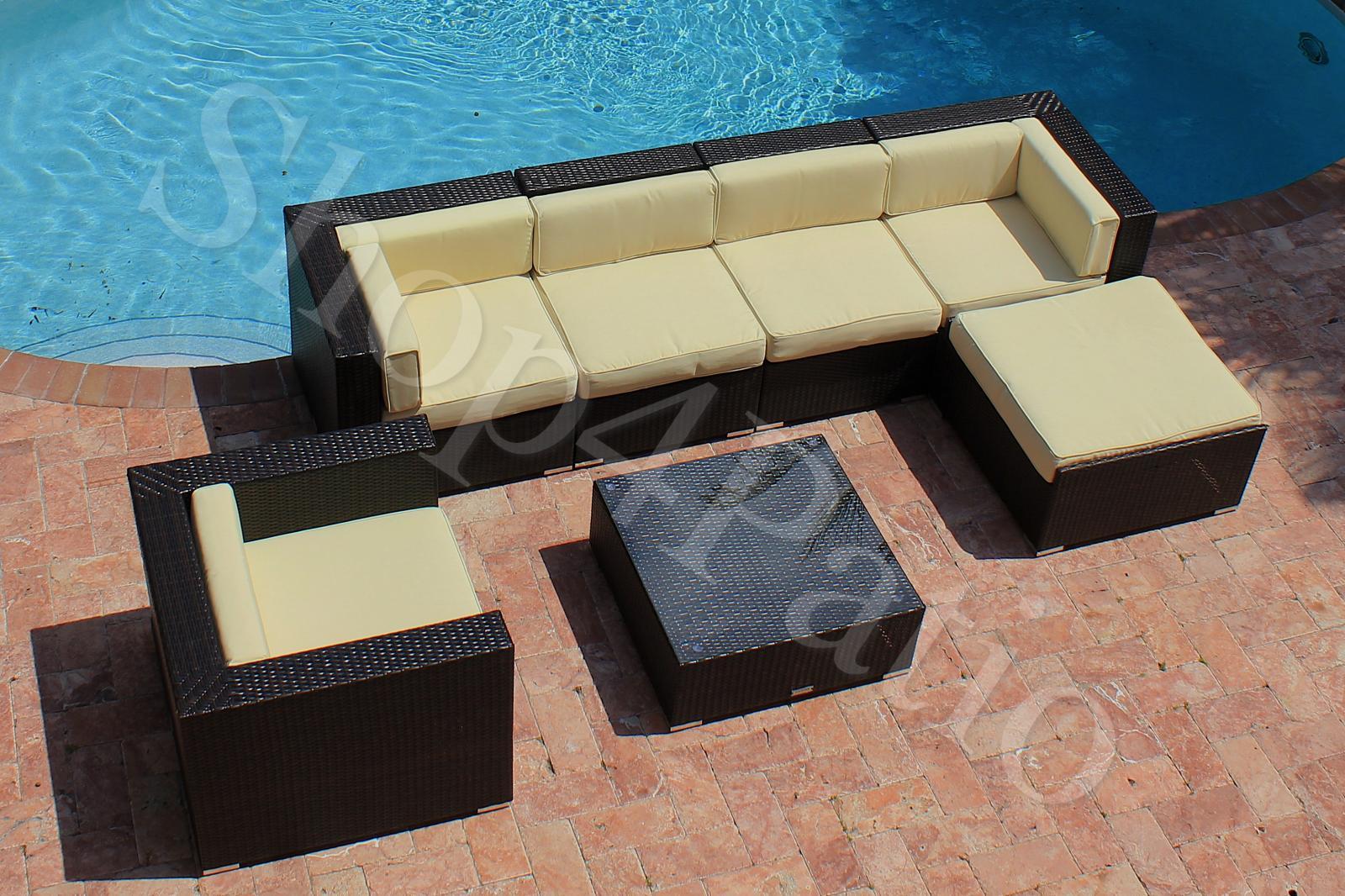 7 Piece Patio Furniture Modern Garden Wicker Modular Sofa
