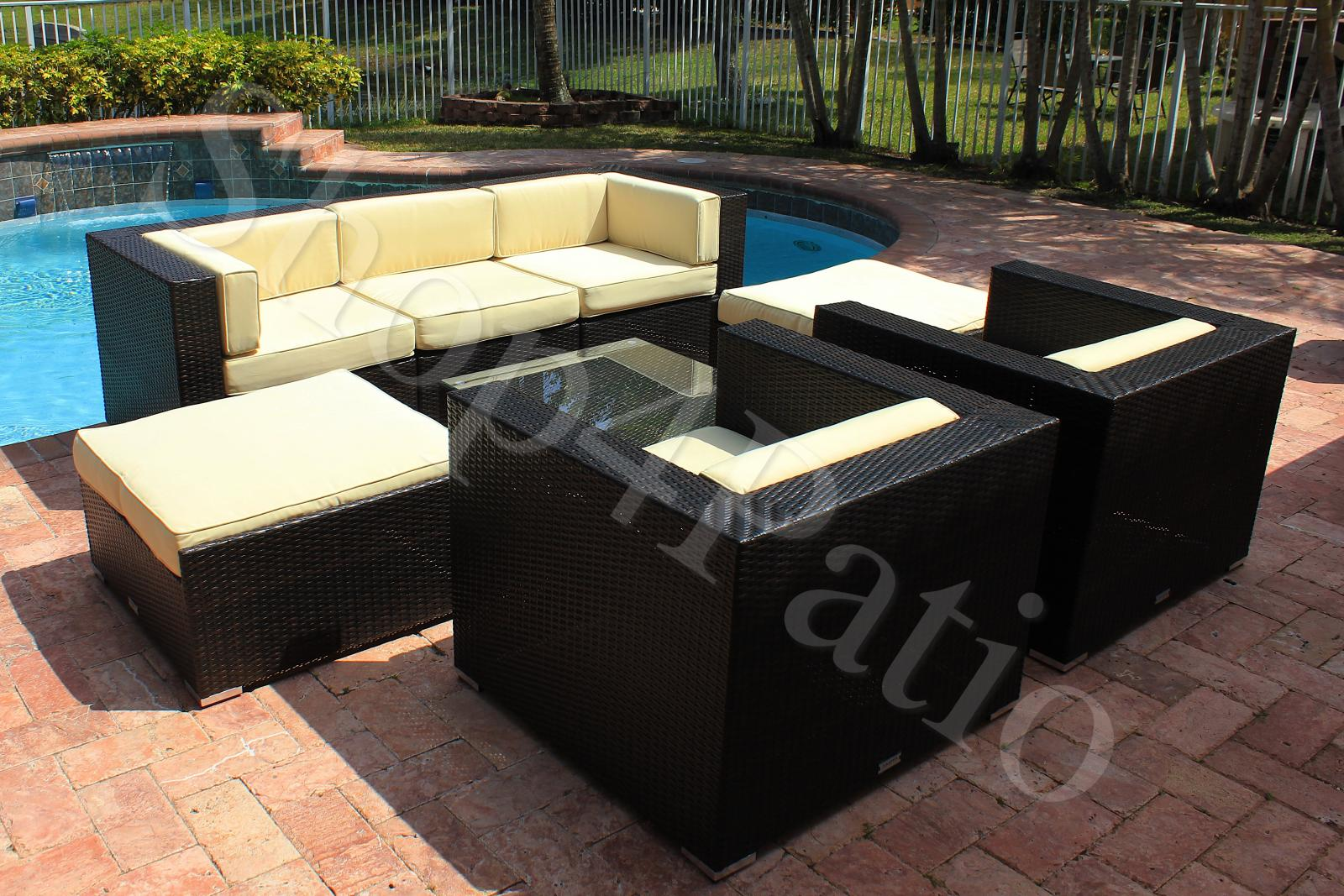 Patio Furniture 8 Piece Modern Garden Wicker Modular Sofa