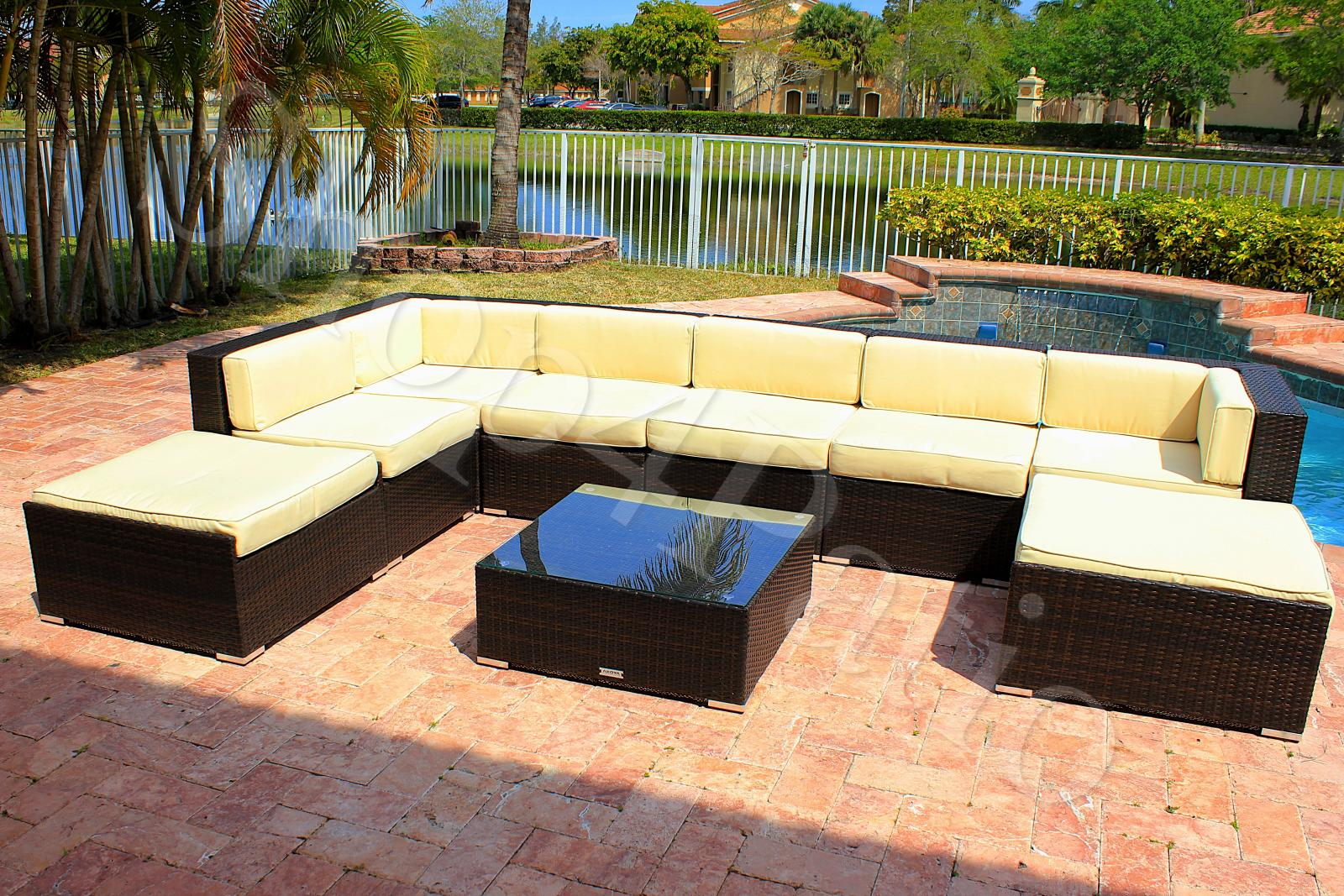 Modern Patio Furniture Garden Wicker Modular Sofa Sectional Outdoor 9 Piece Set Ebay