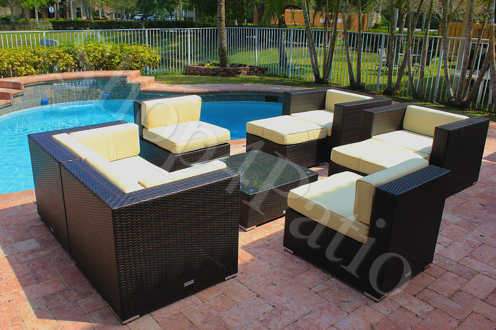 Patio Furniture 9 Piece Modern Garden Wicker Modular Sofa Sectional Outdoor Set