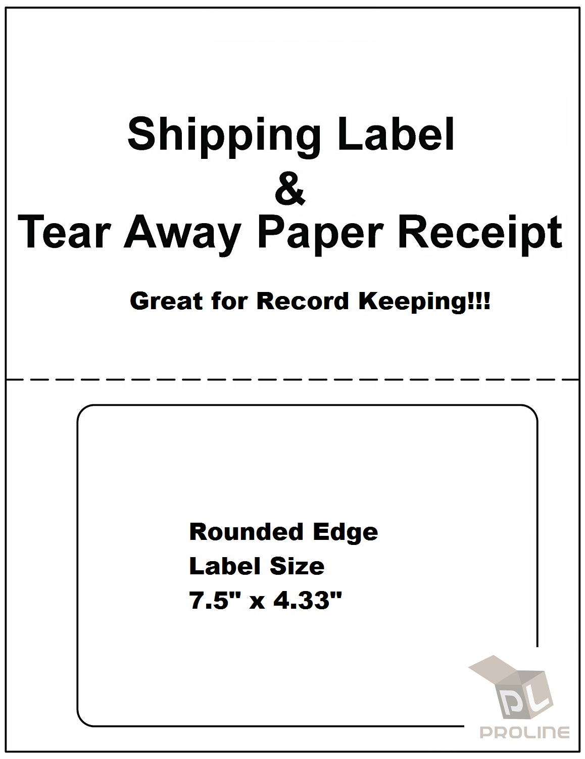 1000 Labels PayPal / Ebay Shipping w/ Tear off Paper Receipt