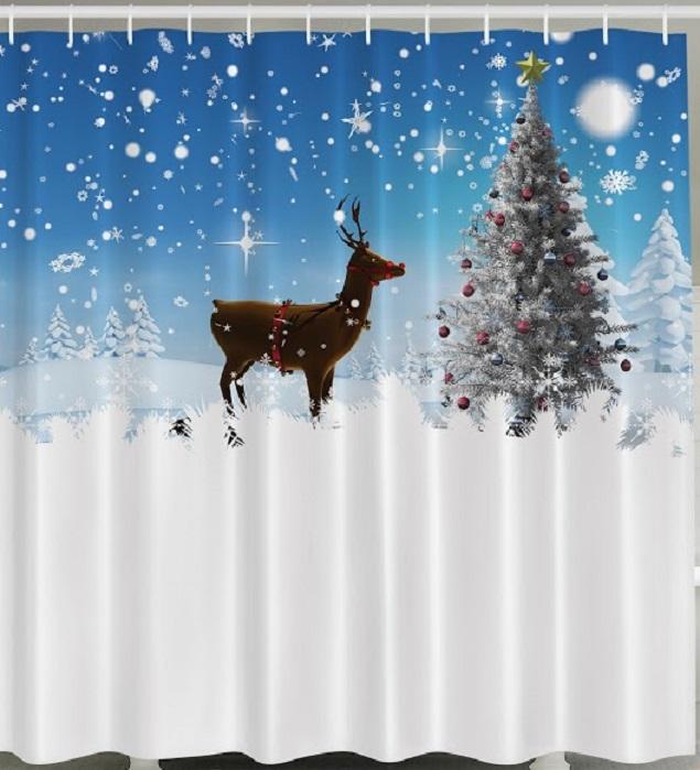 Reindeer christmas tree fabric shower curtain stars