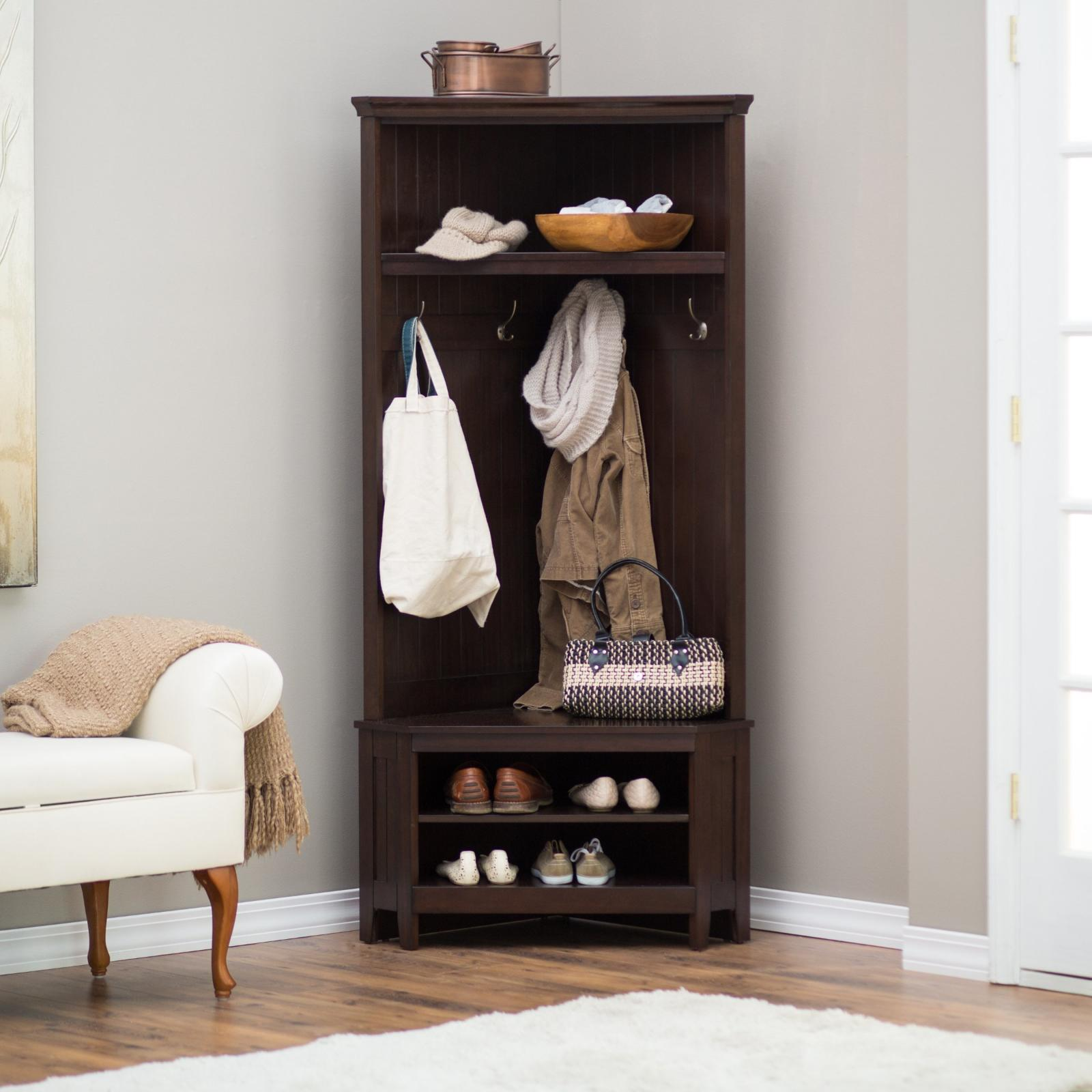 Entryway Storage Bench Corner Hall Tree Furniture Wood Shoe Organizer Coat Rack Ebay