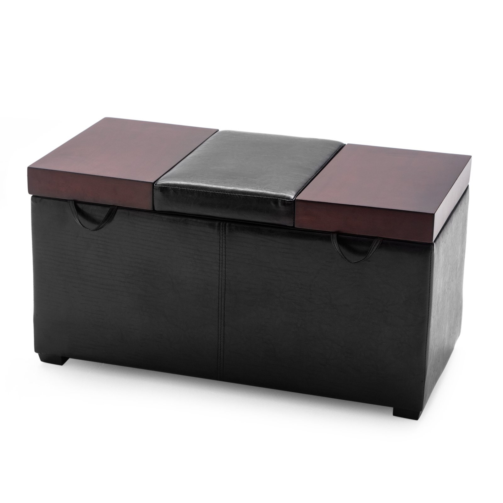 Black Ottoman Storage Lift Top Bench Leather Living Room