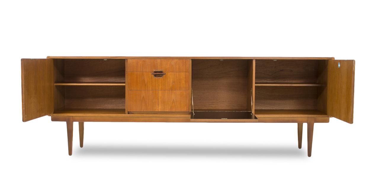 mid century modern teak 7ft credenza sideboard bar media console european. Black Bedroom Furniture Sets. Home Design Ideas