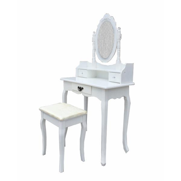 wei schminktisch oval spiegel stuhl set 3 kommode. Black Bedroom Furniture Sets. Home Design Ideas