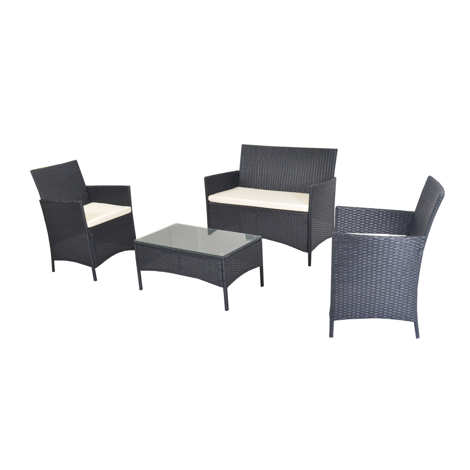 Premium Rattan Furniture Set 4 Piece Chairs Sofa Table