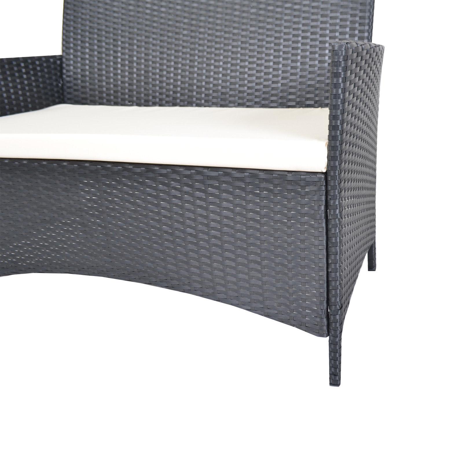 Premium Rattan Furniture Set 4 Piece Chairs Sofa Table Indoor Outdoor Garden