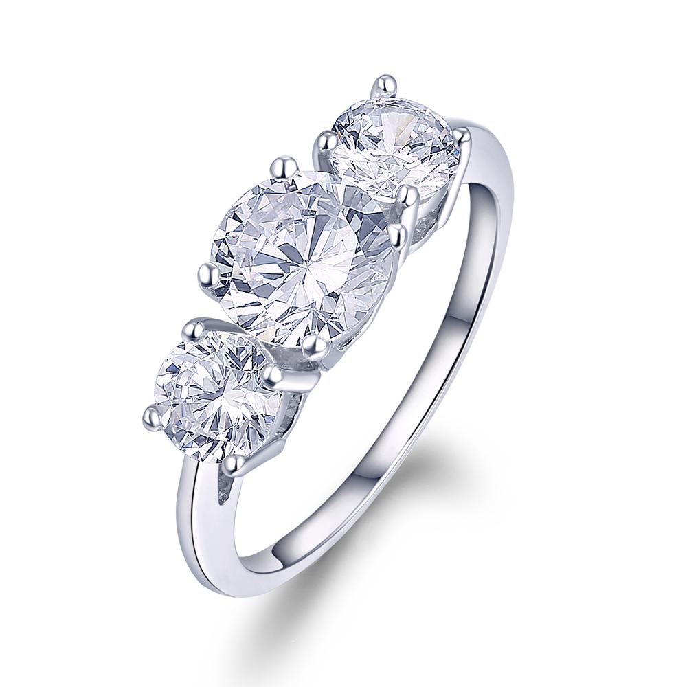 2 61 CT 3 Stone Brilliant Cut Engagement Ring Past Present Future 14K White G