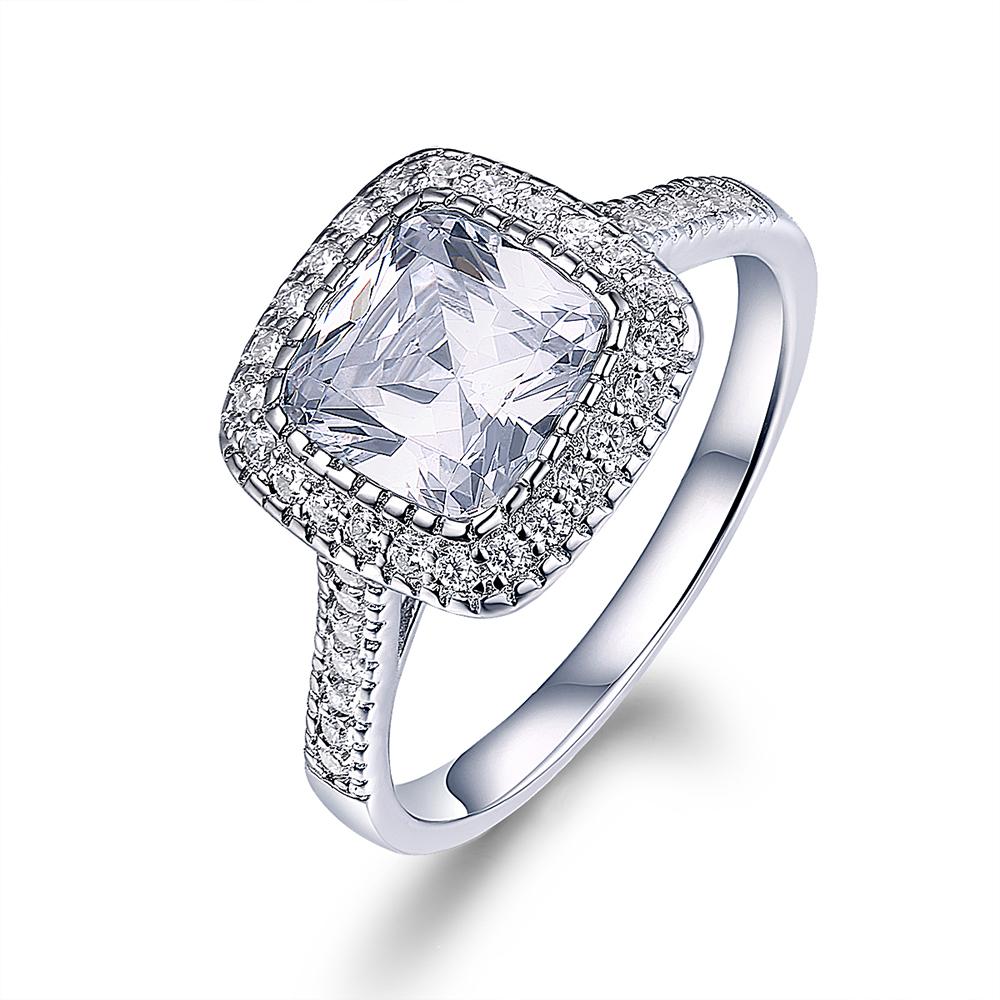 Ring Engagement Cushion Diamond Cut Halo Gold Created 3 Ct Wedding White 14K