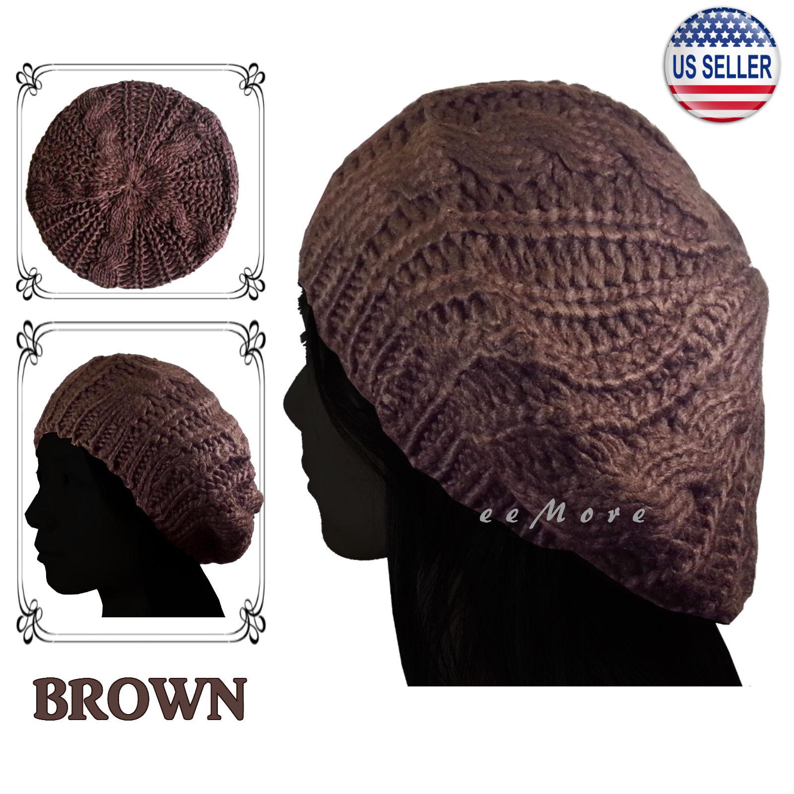 Details about Knitted Beret Crochet Braided Hat Beanie Cap Women Winter  BROWN US Stock 25b3a82d5b