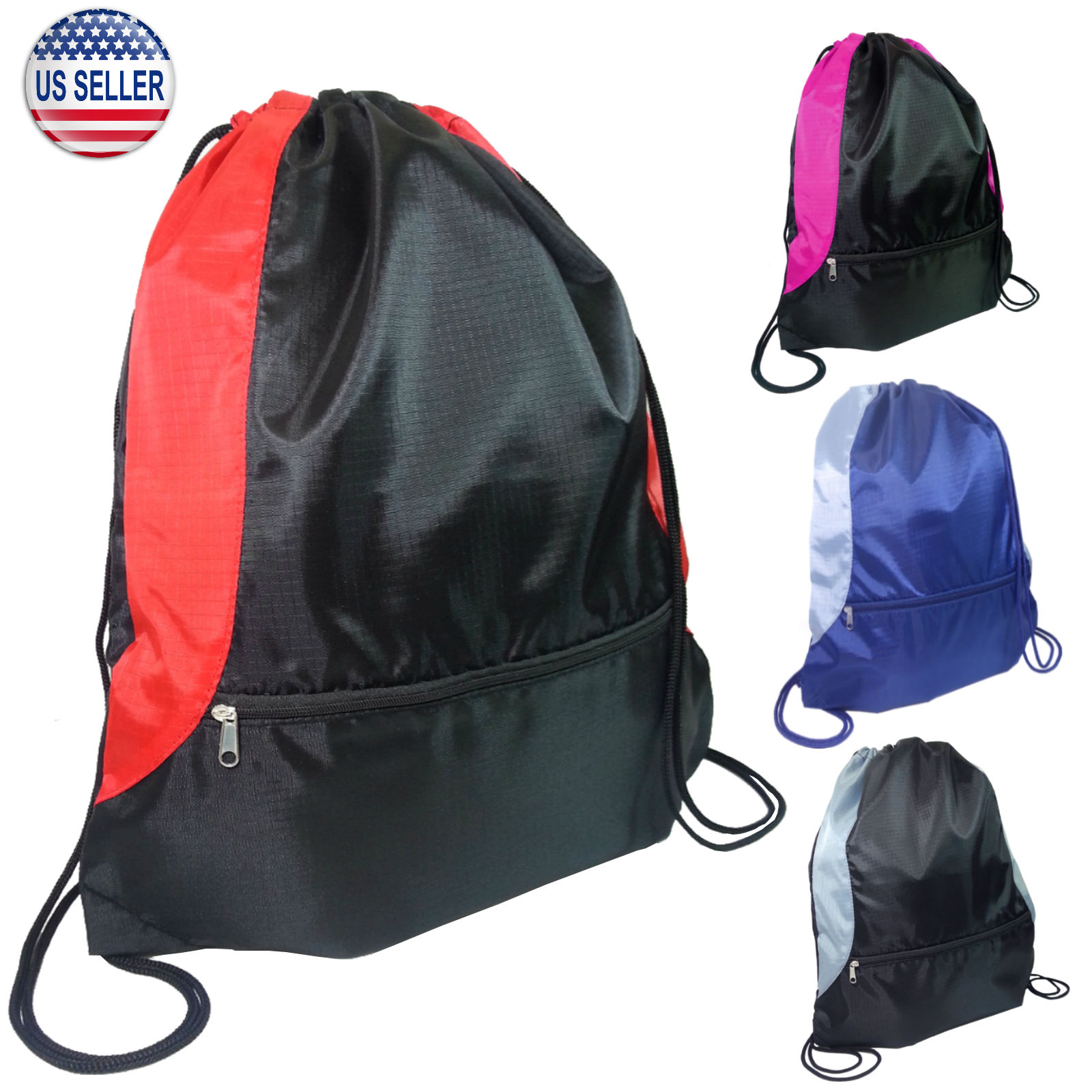 Gym Bag And Backpack: Gym Sack Bag Backpack Drawstring Closure With Zipper Front