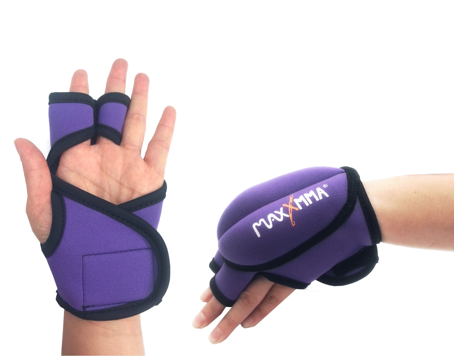 Maxxmma Weighted Gloves 0 75 Lb Ea 1 5 Lb Set Puple Ebay