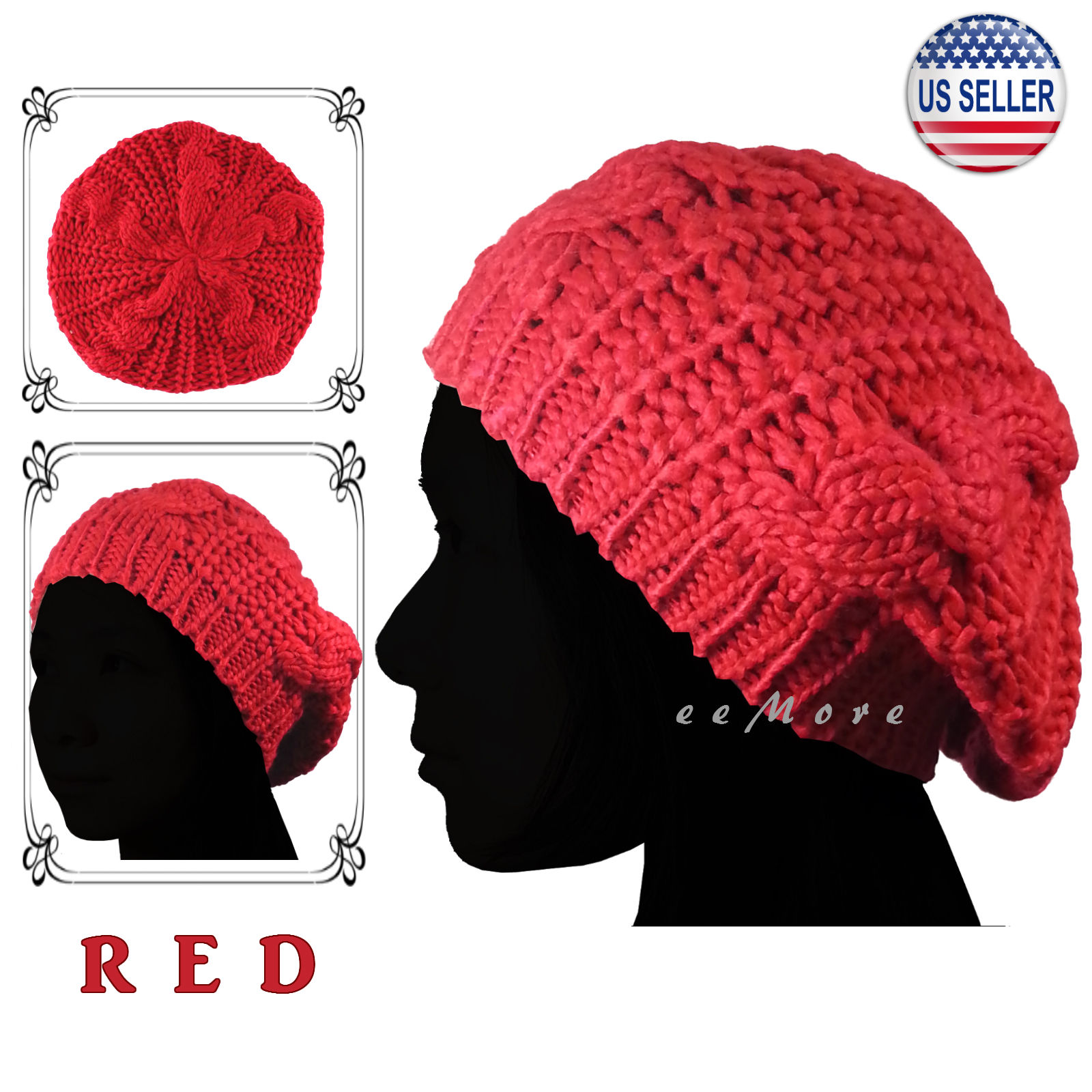f3a74f93 Details about Knitted Beret Crochet Slouchy Braided Hat Beanie Cap Women  Winter RED US Stock