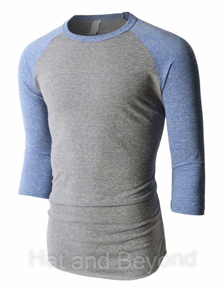 Mens Tri Blend Raglan T Shirt 3 4 Sleeve Baseball Tee Slim