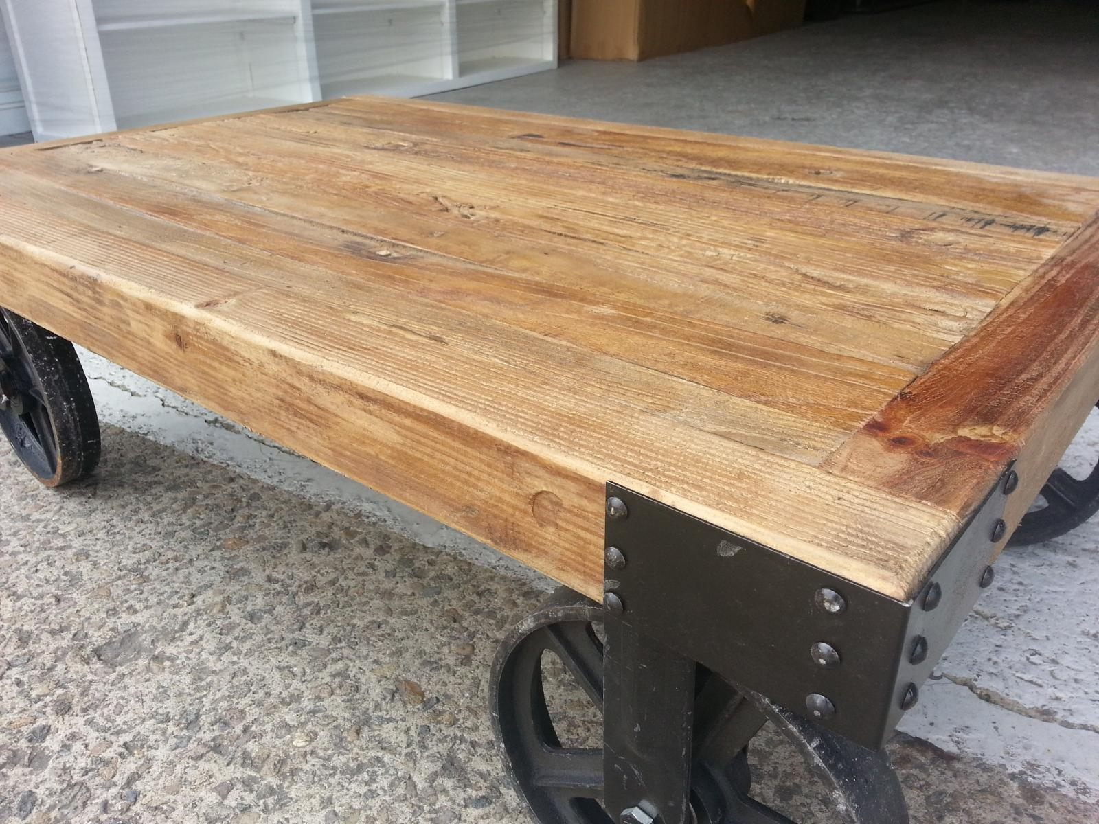 New Industrial Recycled Vintage Rustic Timber Coffee Table With Wheels Ebay
