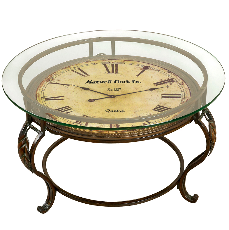 New metal coffee end table clock glass top contemporary storage living furniture ebay Coffee table with clock