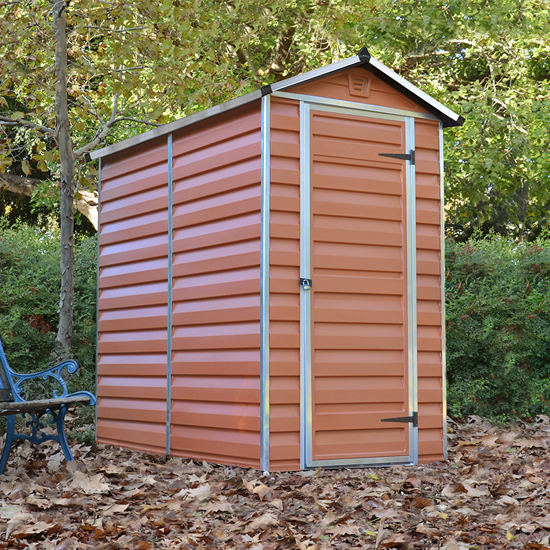 4x6 palram amber skylight plastic shed 4ft x 6ft free for Plastic pent shed