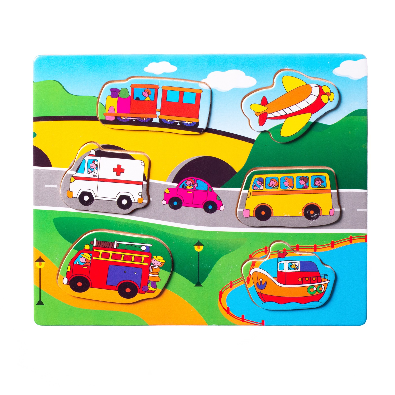 Eliiti Wooden Vehicles Puzzle for Boys Toddlers 2 to 4 Years