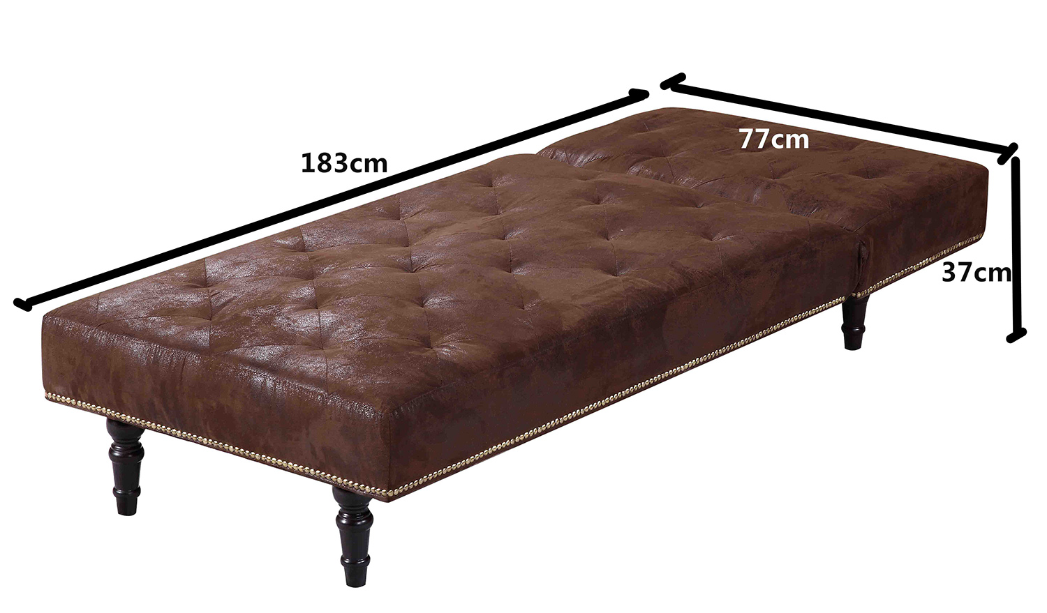 Luxury fabric chaise longue 1 seater sofa bed brown for Antique chaise lounge prices