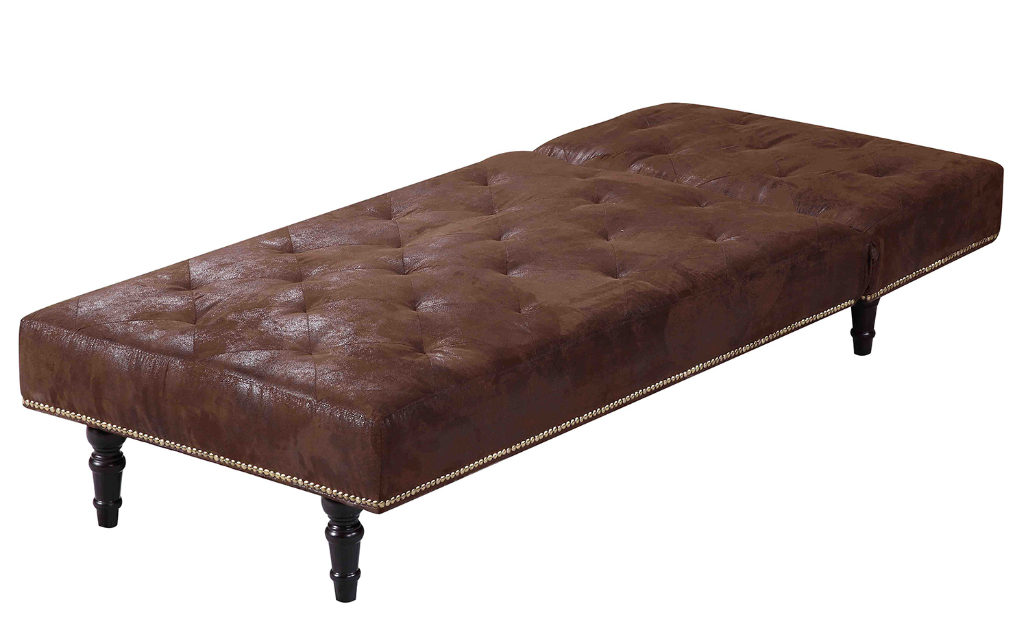 Luxury fabric chaise longue 1 seater sofa bed brown for Antique chaise longue ebay