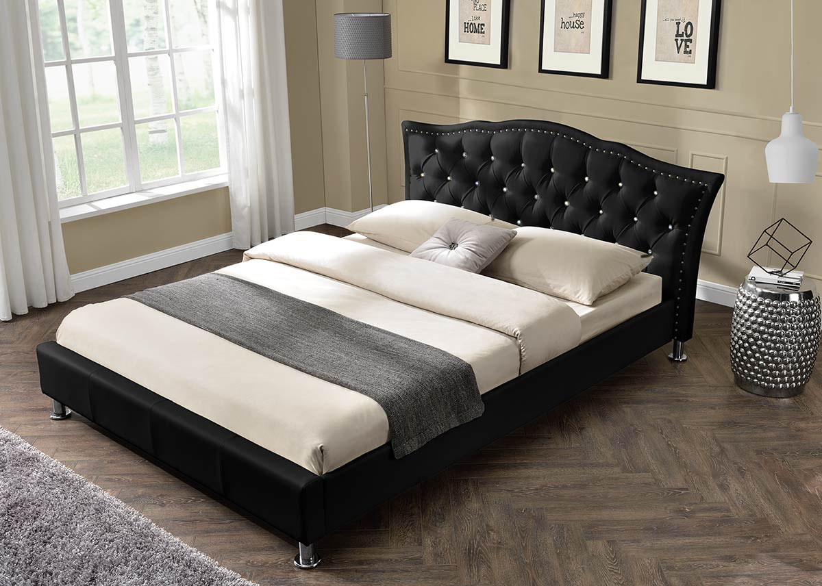 Designer Bed Diamante Double King Size Faux Leather Or
