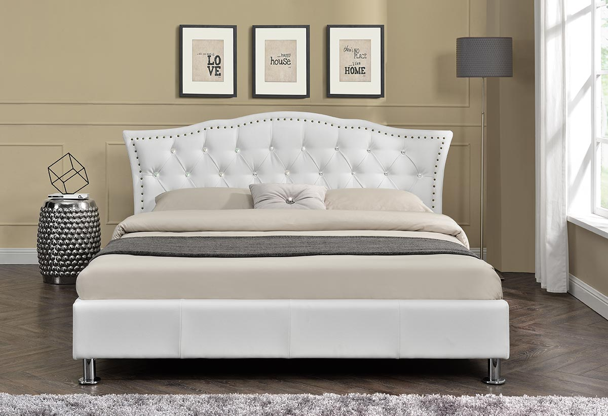 Designer Diamante Headboard Bed Fabric Or Faux Leather