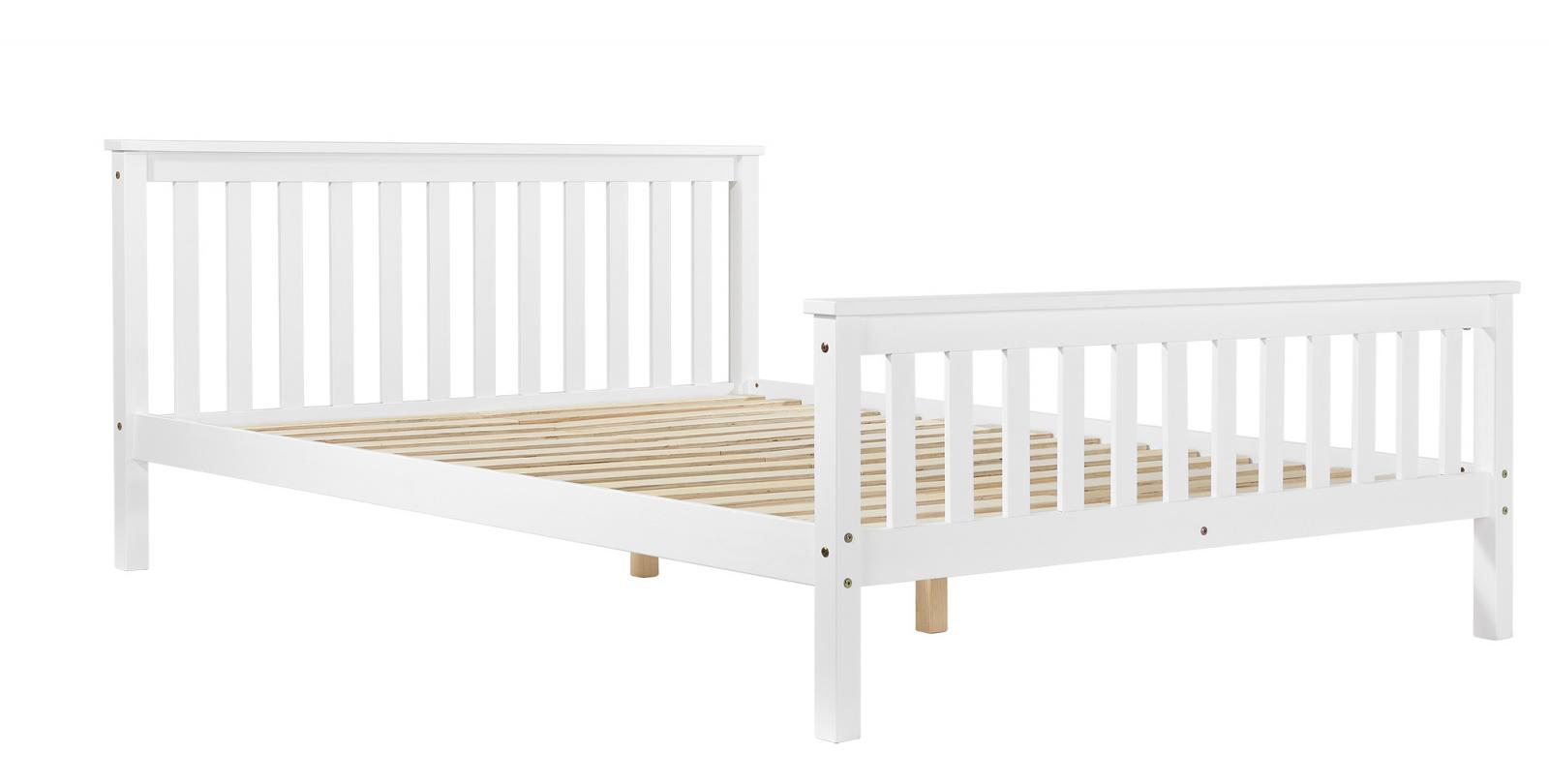 White wooden wood bed frame solid pine country shaker king for Cheap king bed frames