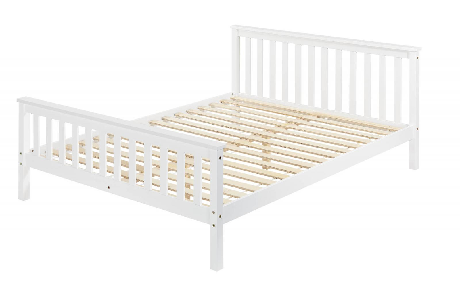 White Wooden Wood Bed Frame Solid Pine Country Shaker King