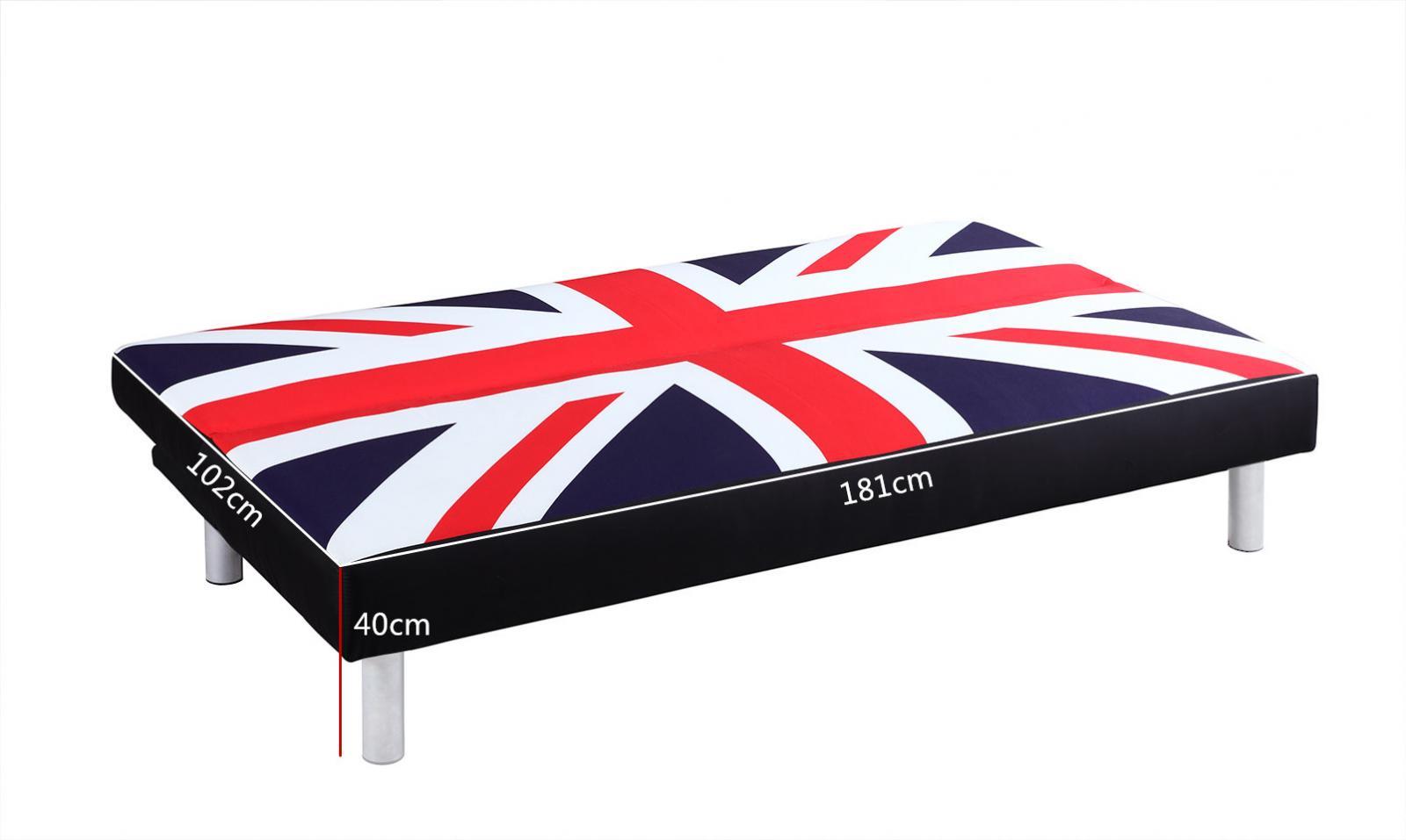 sofa bed with retro union jack british flag print fabric