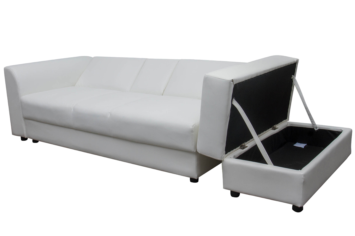 Modern sofa bed faux leather ottoman storage 3 seater for Cheap black sofa bed