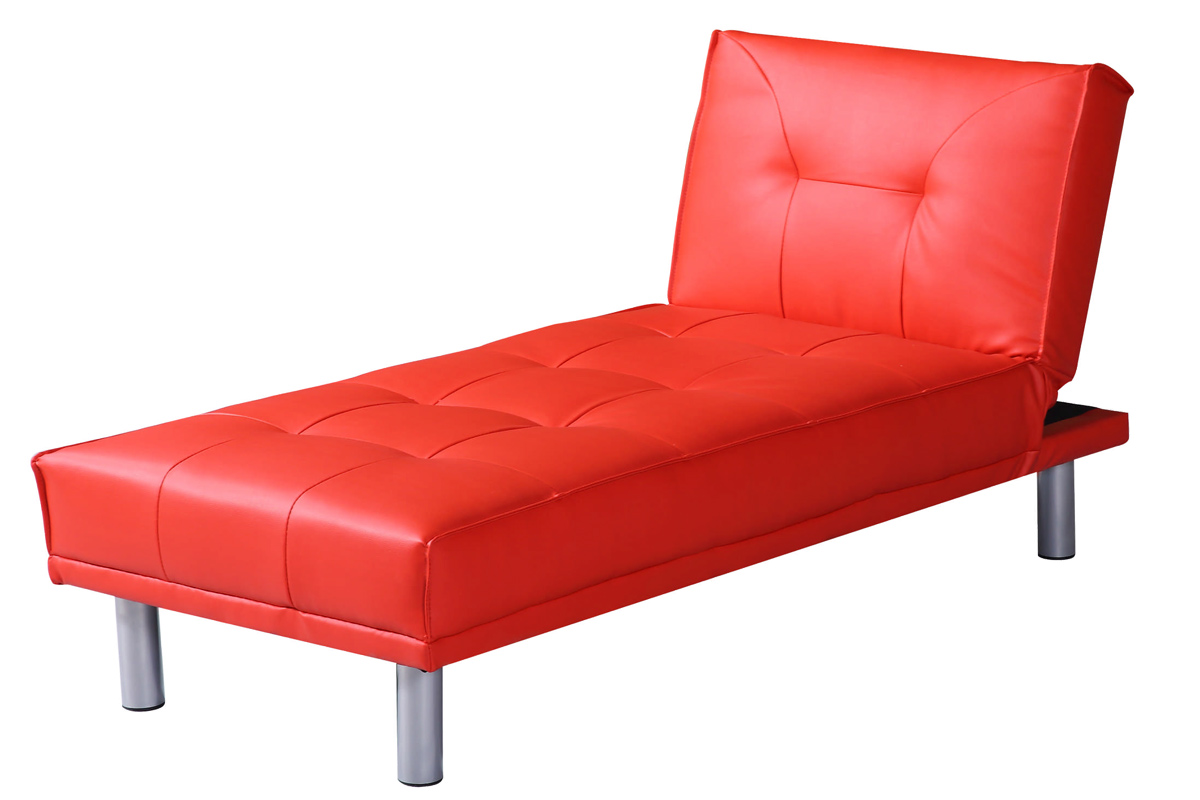 Chaise longue 1 seater single chair sofa bed faux leather for Chaise longue ebay