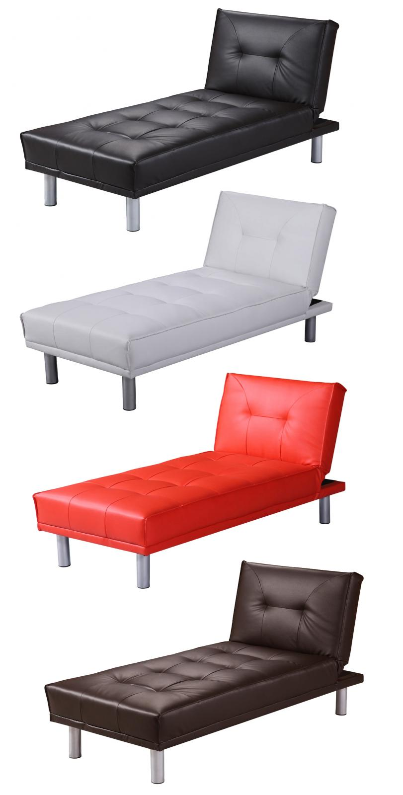 Chaise longue 1 seater single chair sofa bed faux leather for Chaise longue sofa bed ebay