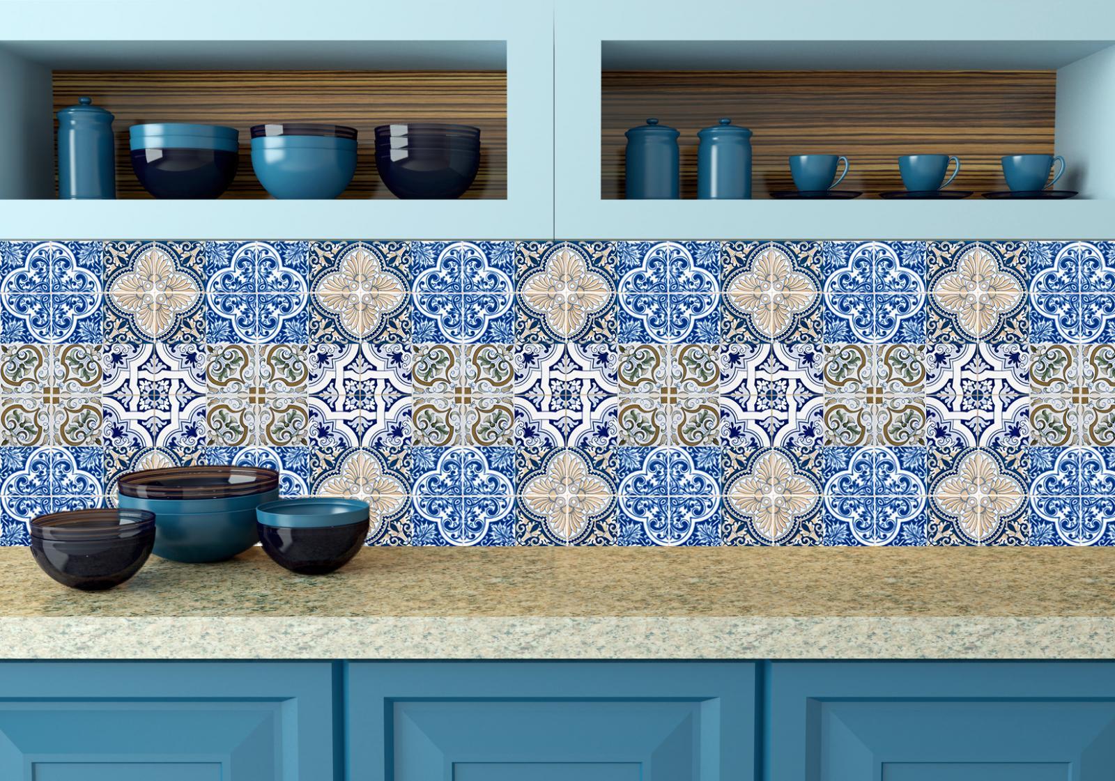 Portuguese Tile Stickers 24 PC Set of Tile Decals Kitchen & Bathroom ...