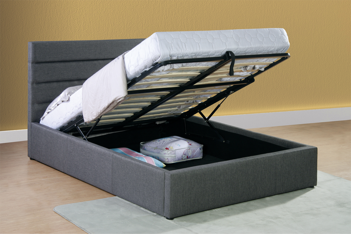 Lift Up Beds Storage : Luxury grey fabric lift up storage bed frame ft double