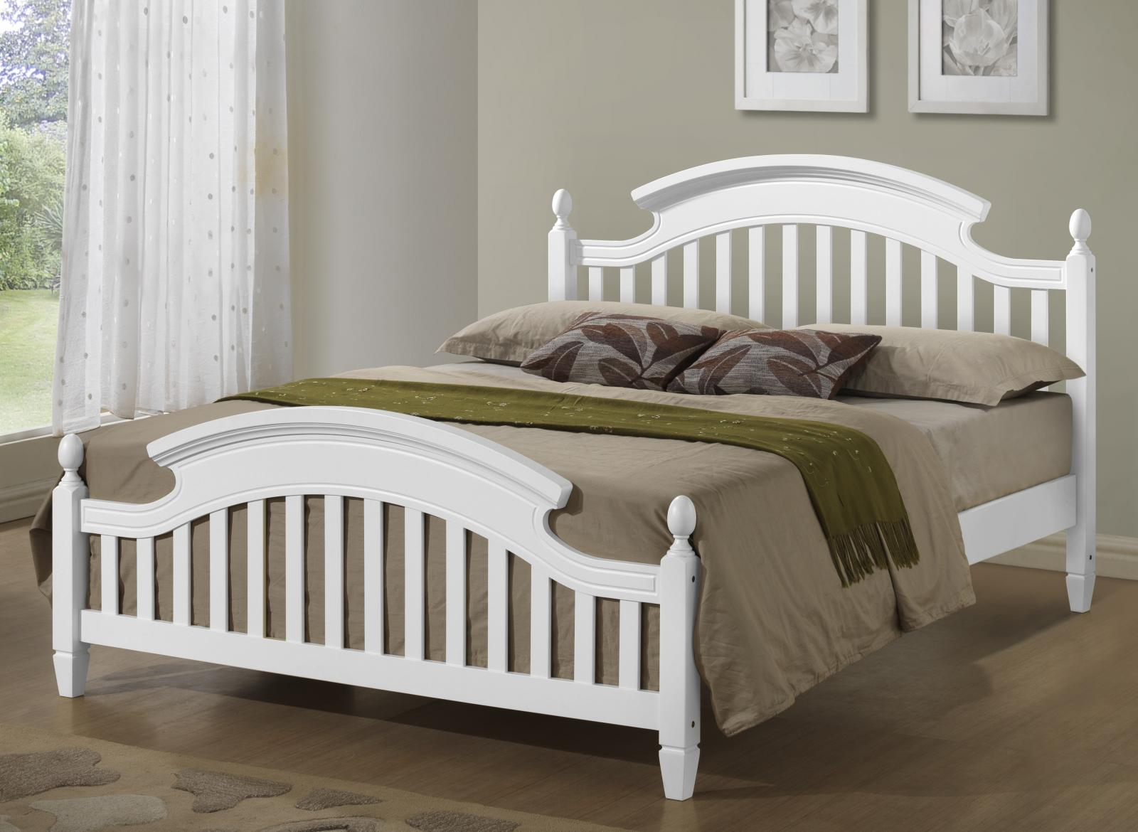 white wooden arched headboard bed frame in 3ft single 4ft6. Black Bedroom Furniture Sets. Home Design Ideas