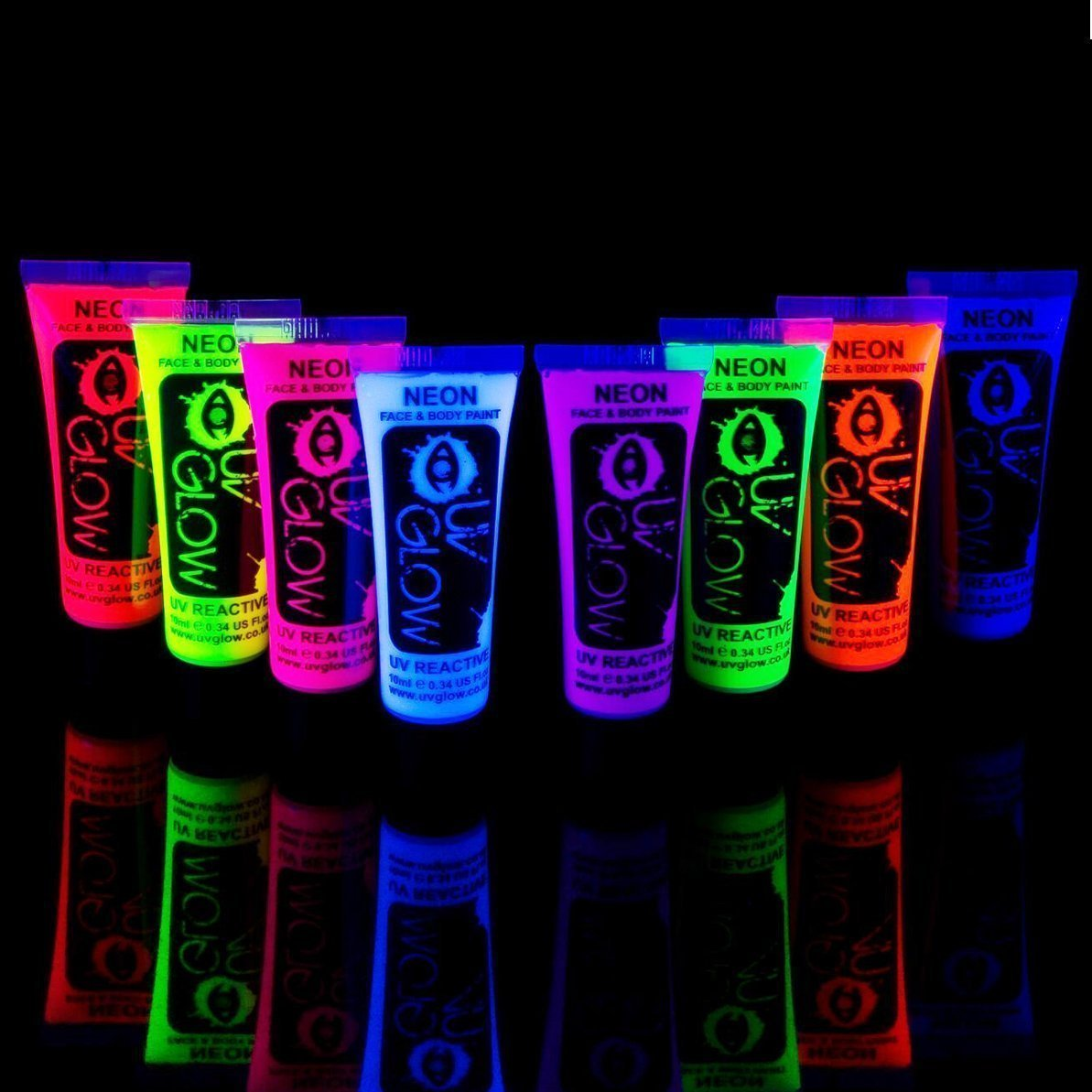 details about neon glow in the dark face and body paint party 8pcs uv. Black Bedroom Furniture Sets. Home Design Ideas