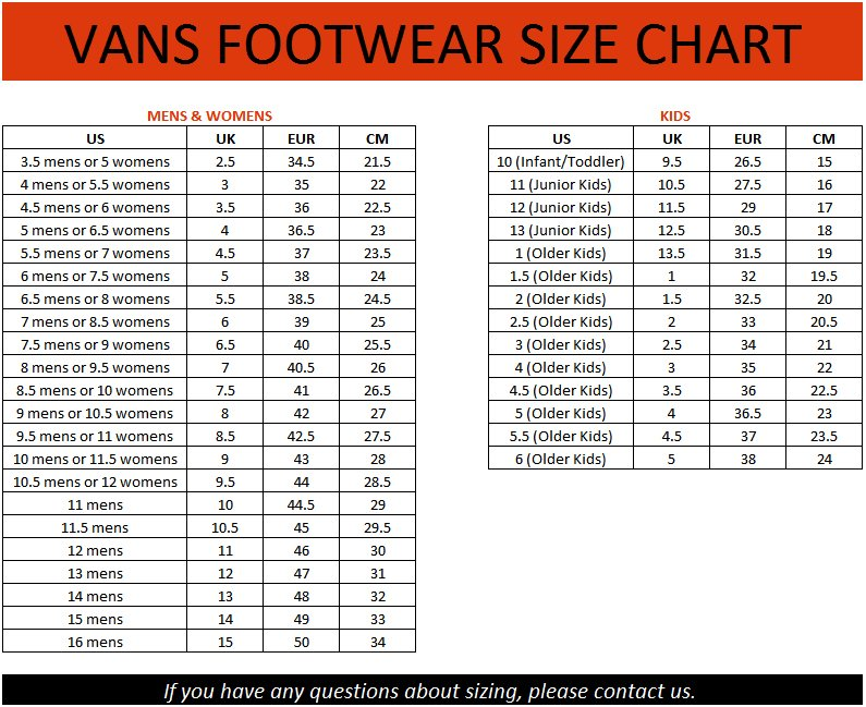Vans Shoe Size Chart Inches
