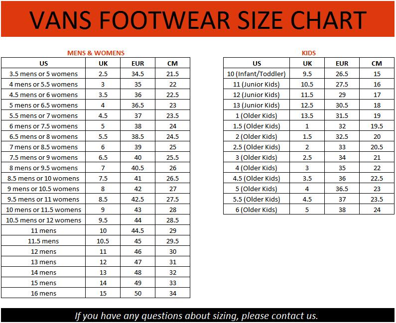 Vans shoes size chart cm vans foghorn mens lace up boat shoes