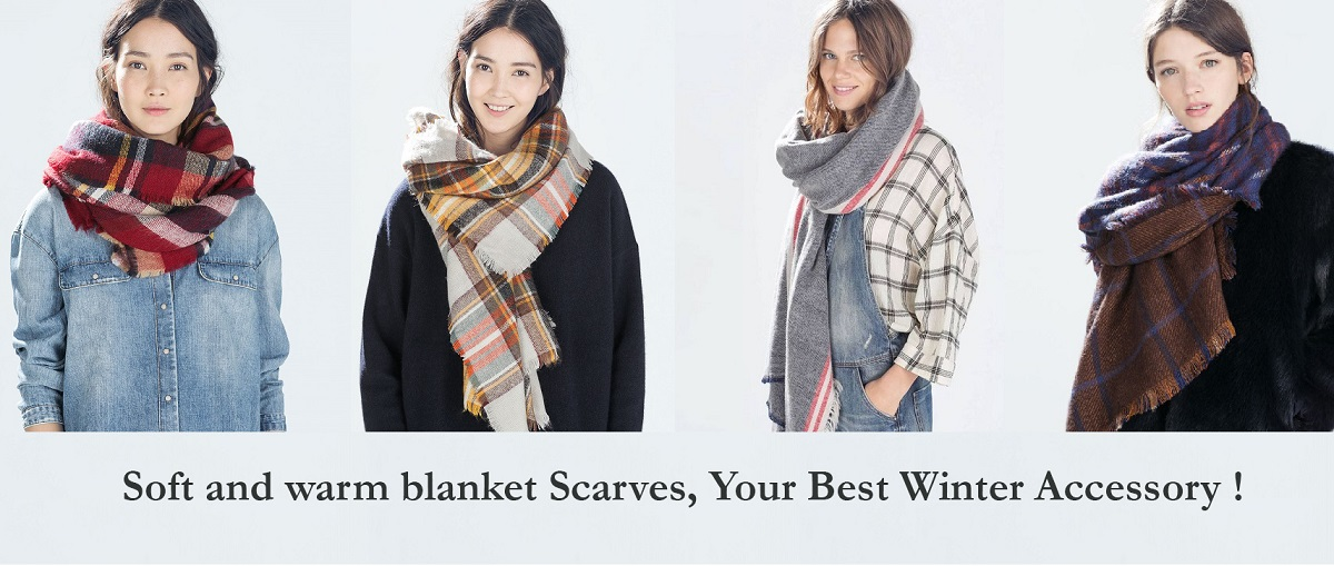 75e14fb770327 Oversized styling, check plaid tartan pattern, frayed ends. Hand wash or  dry clean only, do not bleach. Soft and warm plaid blanket scarves ...