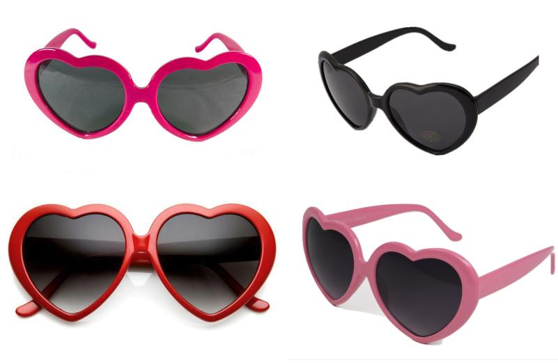 UK Retro Love Heart Shaped Sunglasses Large Fashion Fancy Dress Party Hen Night
