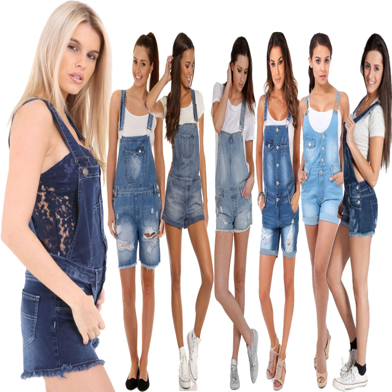 de96d94a46f Details about New Ladies Womens Denim Dungarees Playsuit Jumpsuit MINI  Short Dress Jeans 8-18