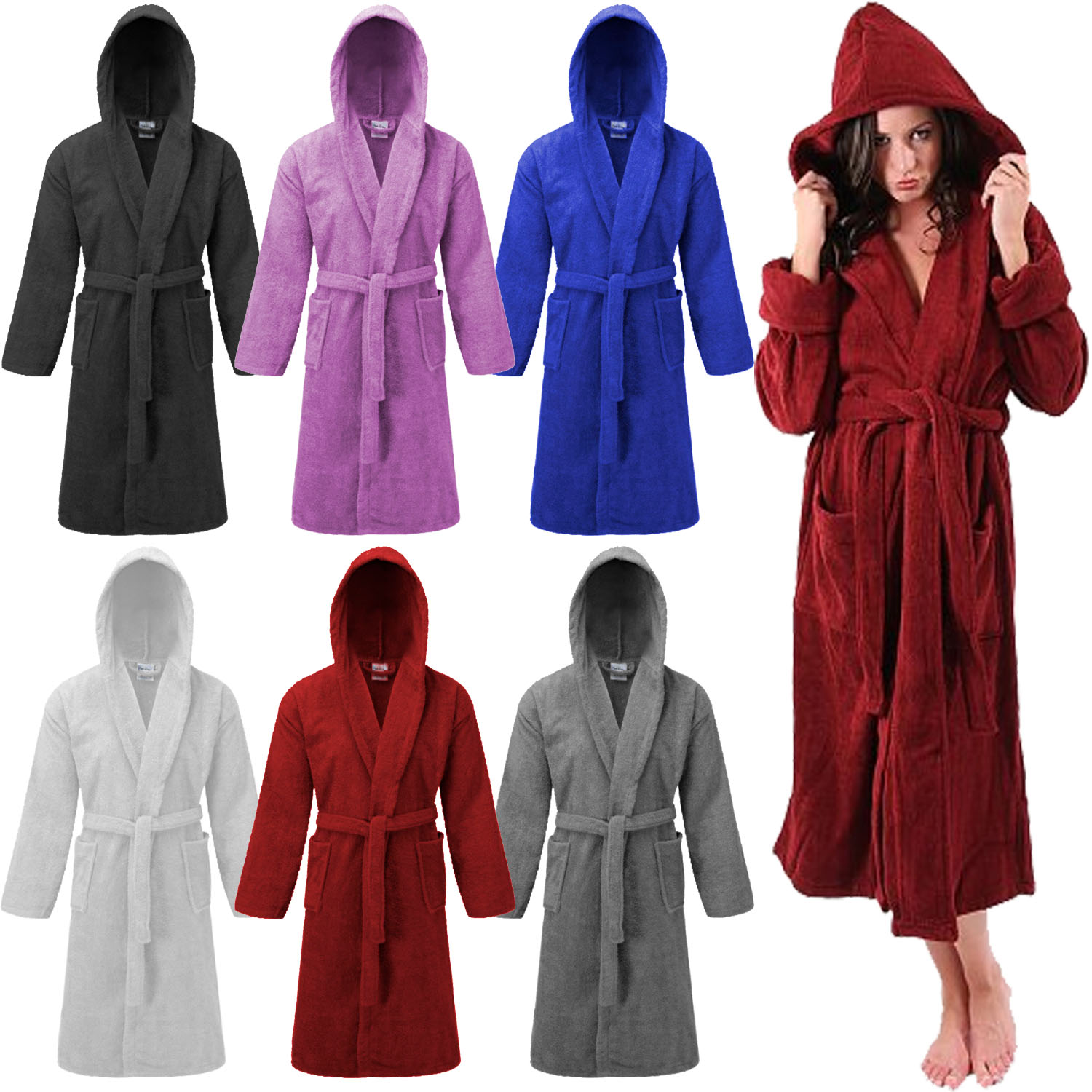 Details about 100 % Cotton Terry Mens Ladies Dressing Gown Towelling Robe  Bath Bathrobe Hooded f4ba46063