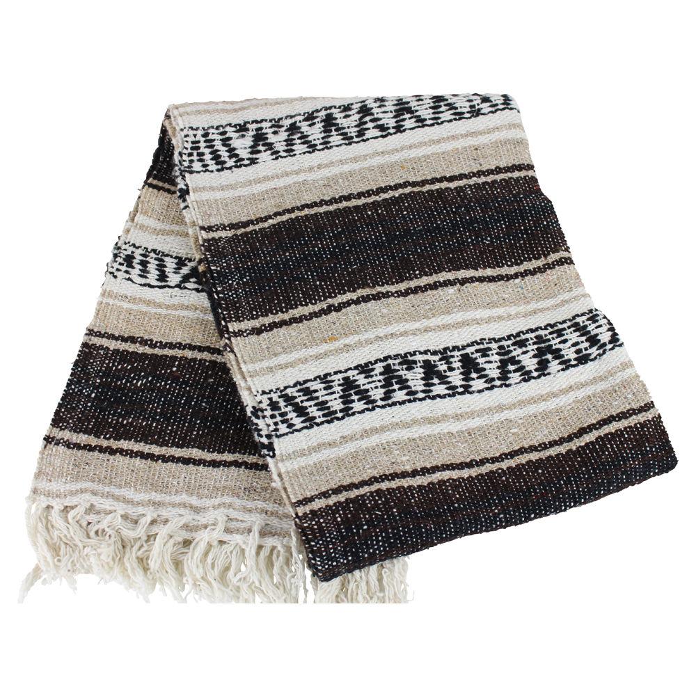 Mexican Beach Blanket: #11Tan Brown Mexican Falsa Blanket Beach Picnic Yoga