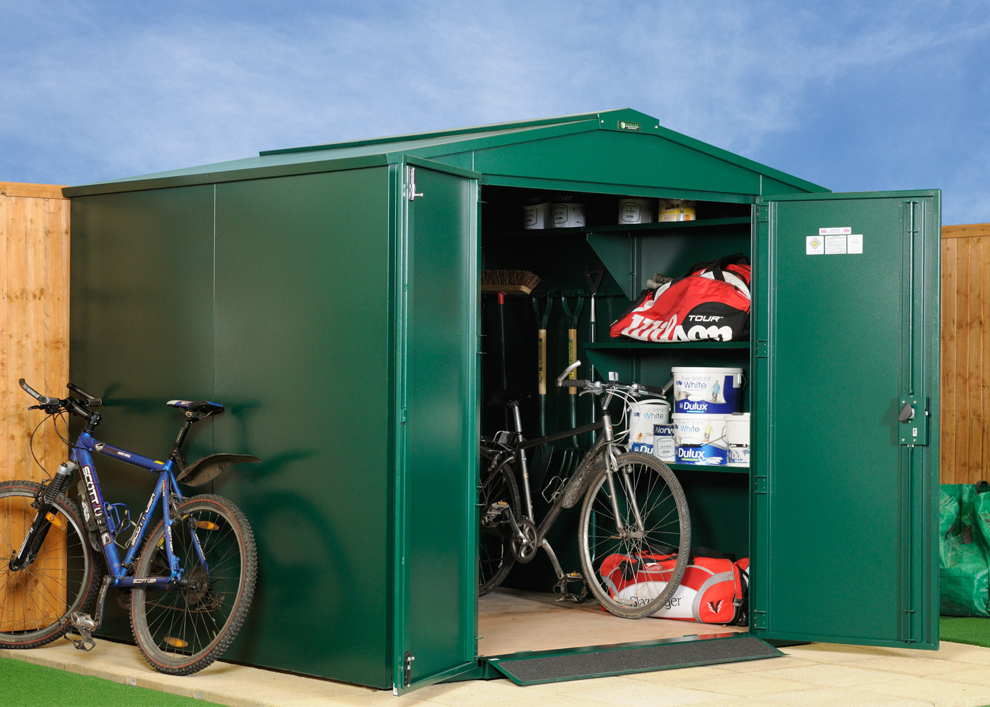 7 x 7 metal steel shed secure garden bike storage. Black Bedroom Furniture Sets. Home Design Ideas