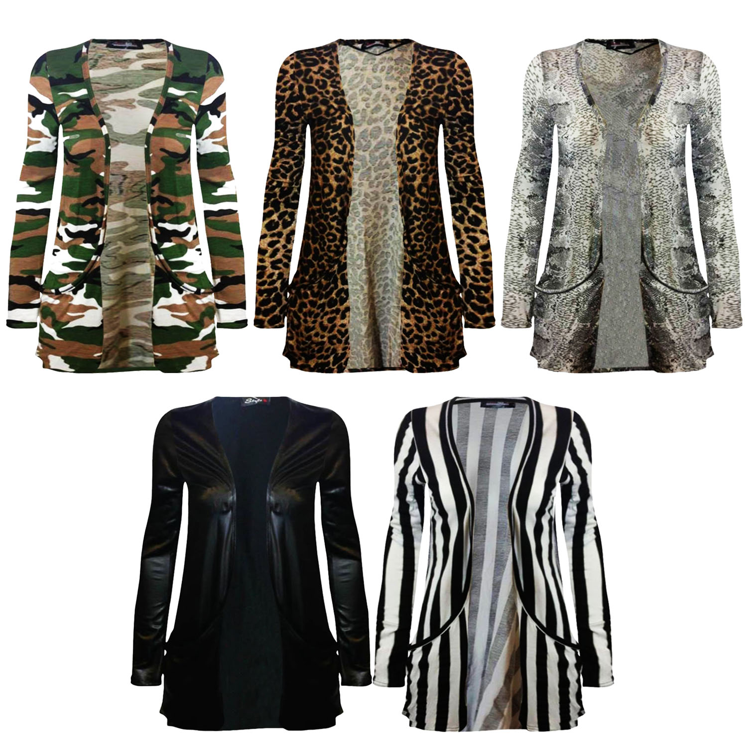 a2300baa7a Details about New Animal Print Ladies Open Front Pocket Boyfriend Cardigan  Style TOP UK 8-26