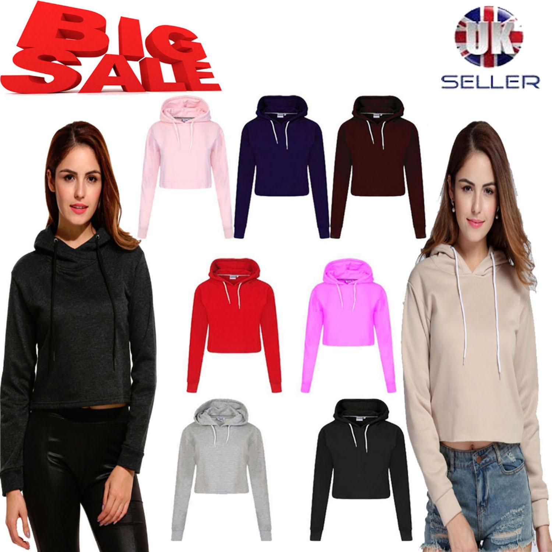 New Womens Pullover Fleece Plain Cropped TOP Crop Hoody Sweatshirt Hoodie Jumper