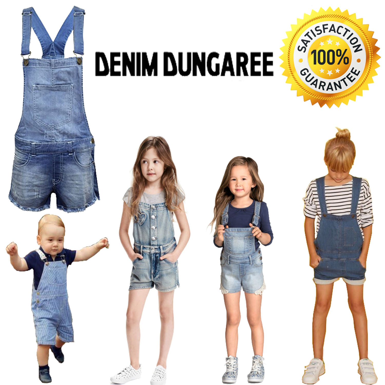 laest technology shop for original latest trends Details about New Kids Girls DENIM Stretch Light Wash Dungarees PlaySuit  Jumpsuit Shorts 7-13