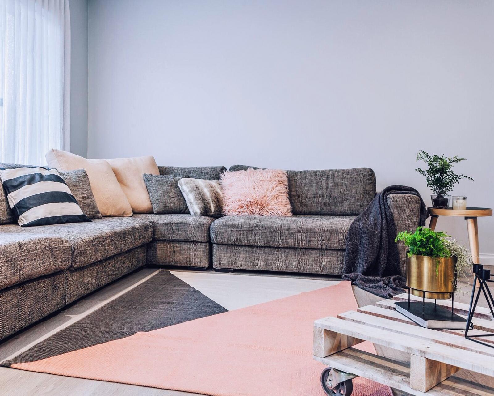 color block blush grey cotton rug 133x180cm living area bedroom rug