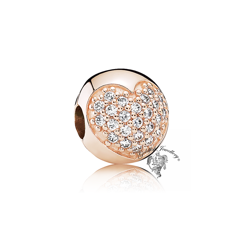 Genuine Pandora Rose Gold Heart Pave Heart Charm Clip